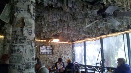 Cabbage Key Inn is wall-papered with dollar bills