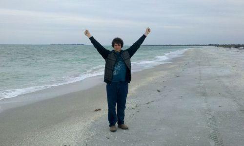 John Kessinger, last man on earth, at Cayo Costa beach