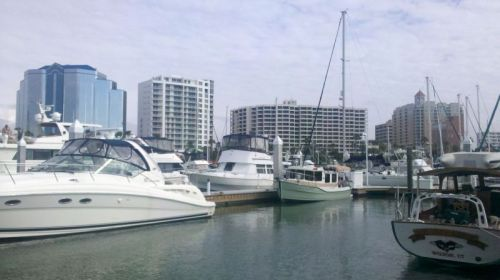 Sarasota skyline from Memsahib's dock at Marina Jack.