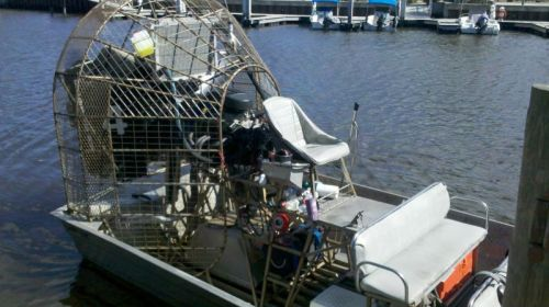 Our airboat -- even fully loaded it will go 30 miles per hour in 8 inches of water