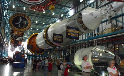 Layed out on its side, a Saturn/Apollo rocket is unbelievably massive.