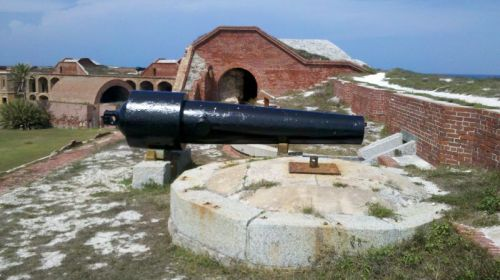 One of the hundreds of cannon at Fort Jefferson.  Rifled pieces like this actually made the fort obsolete because our ships could guard the Florida Straights and enemy ships could pound a brick fort to pieces.