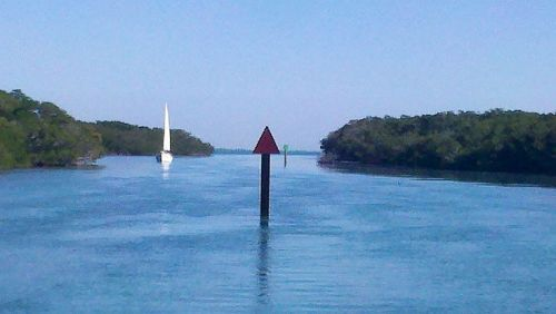 Sailboat coming through one of the many mangrove cuts we traversed today.