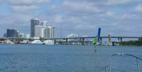 Miami Harbor coming into Mia Marina.