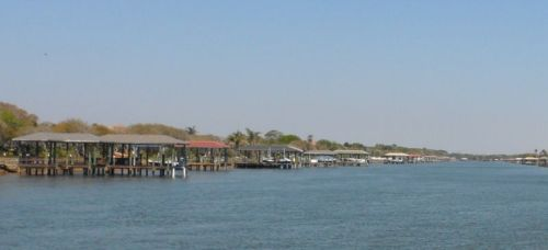 Narrow portion of the ICW south of St. Augustine -- every boat has its own garage.