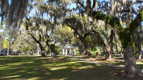 City park wreathed in Spanish Moss.