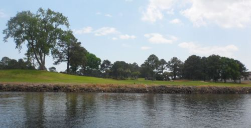 Golf course with a large lateral hazard called the AICW.  Could this be Myrtle Beach?