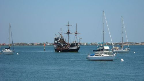 Pirate ship pulled into the harbor for some wenching and carousing on Holy Saturday.