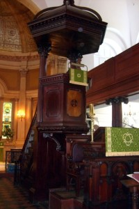 The mahogany pulpit at St. Michaels.