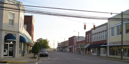 Belhaven, NC.  You can just see the Ace Hardware at the end of the street.