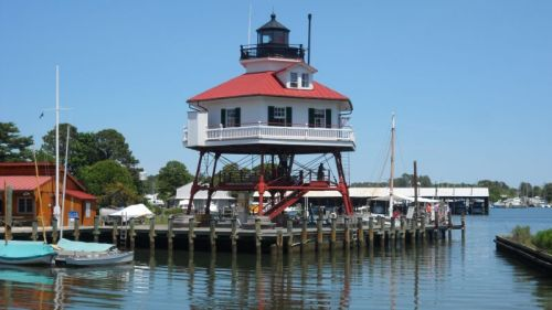 Drum Point Lighthouse, transported a few miles to Solomons from the mouth of the Patuxent.  A family of seven lived in the four rooms below the light.