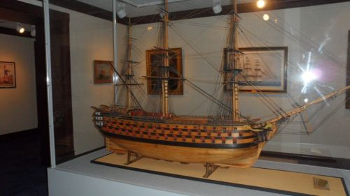 This model of a French 100-gun ship is about eight feet long.